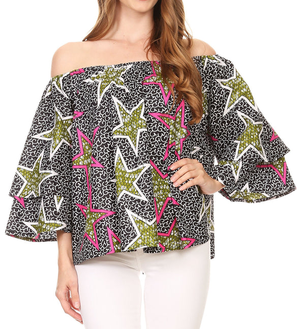 Sakkas Omari Off-shoulder Bell Sleeve Blouse Top Relax Fit Ankara African Wax#color_Black multi/stars