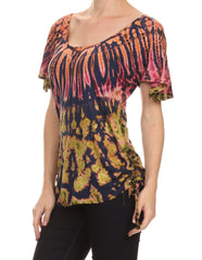 Sakkas  Harlie Tie Dye Blouse With High Low Adjustable Side Seam