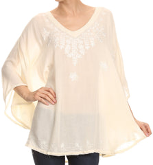Sakkas Valeray Nature Floral Embroidered Wide Long Poncho Tunic Blouse Shirt Top
