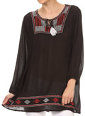 Sakkas Samne Long 3/4 Length Sleeve Embroidered Batik Blouse Tunic Shirt Top#color_Black / Red