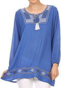 Sakkas Samne Long 3/4 Length Sleeve Embroidered Batik Blouse Tunic Shirt Top#color_Blue / White