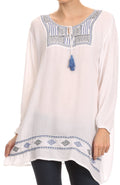 Sakkas Samne Long 3/4 Length Sleeve Embroidered Batik Blouse Tunic Shirt Top#color_White / Blue