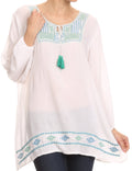 Sakkas Samne Long 3/4 Length Sleeve Embroidered Batik Blouse Tunic Shirt Top#color_White / Green