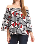 Sakkas Abree Off-shoulder Short Sleeve  Blouse Top Ankara Wax Dutch African Print#color_2288 Black/white