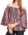 Sakkas Abree Off-shoulder Short Sleeve  Blouse Top Ankara Wax Dutch African Print#color_2293 Red/turq-tile