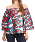 Sakkas Abree Off-shoulder Short Sleeve  Blouse Top Ankara Wax Dutch African Print#color_2296 Red/turq-ornate
