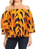 Sakkas Abree Off-shoulder Short Sleeve  Blouse Top Ankara Wax Dutch African Print#color_403-Multi
