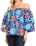 Sakkas Abree Off-shoulder Short Sleeve  Blouse Top Ankara Wax Dutch African Print#color_42-Multi