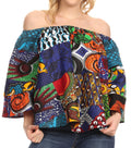 Sakkas Abree Off-shoulder Short Sleeve  Blouse Top Ankara Wax Dutch African Print#color_421-Multi