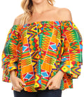 Sakkas Abree Off-shoulder Short Sleeve  Blouse Top Ankara Wax Dutch African Print#color_43-Multi