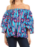 Sakkas Abree Off-shoulder Short Sleeve  Blouse Top Ankara Wax Dutch African Print#color_46-Multi