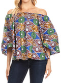 Sakkas Abree Off-shoulder Short Sleeve  Blouse Top Ankara Wax Dutch African Print#color_48-Multi