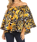 Sakkas Abree Off-shoulder Short Sleeve  Blouse Top Ankara Wax Dutch African Print#color_602-Multi