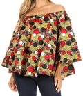 Sakkas Abree Off-shoulder Short Sleeve  Blouse Top Ankara Wax Dutch African Print#color_603-Multi