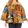 Sakkas Abree Off-shoulder Short Sleeve  Blouse Top Ankara Wax Dutch African Print#color_605-Multi