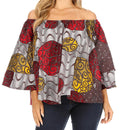 Sakkas Abree Off-shoulder Short Sleeve  Blouse Top Ankara Wax Dutch African Print#color_86-Multi