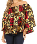 Sakkas Abree Off-shoulder Short Sleeve  Blouse Top Ankara Wax Dutch African Print#color_87-Multi