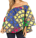 Sakkas Abree Off-shoulder Short Sleeve  Blouse Top Ankara Wax Dutch African Print#color_94-Multi