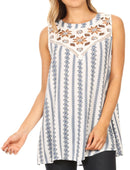 Sakkas Meli Corchet Lace Floral Stripe Tank with Keyhole Back