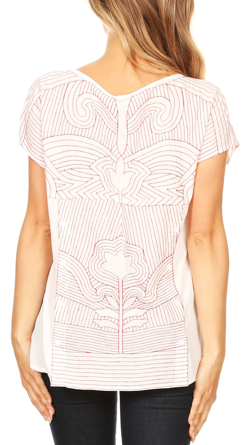 Sakkas Karina Floral Embroidered Short Sleeve Dolman Top