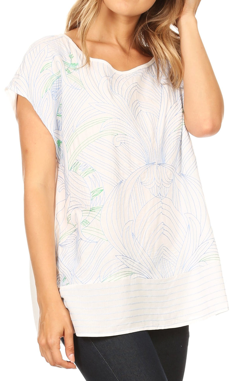 Sakkas Remi Multi-Color Nature Embroidered Short Sleeve Dolman Top