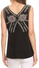 Sakkas Elita Sleeveless Tank Top Batik Aztec Embroidered Shirt Blouse