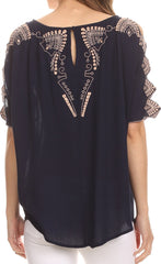 Sakkas Enya Batik Wide Scoop Neck Blouse Shirt Top Open Sleeves