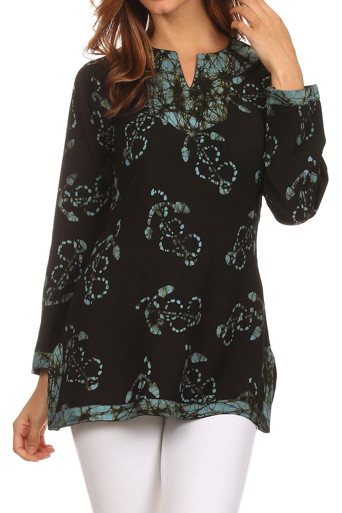 Sakkas Callie Anchor Long Sleeve Cotton Tunic Blouse