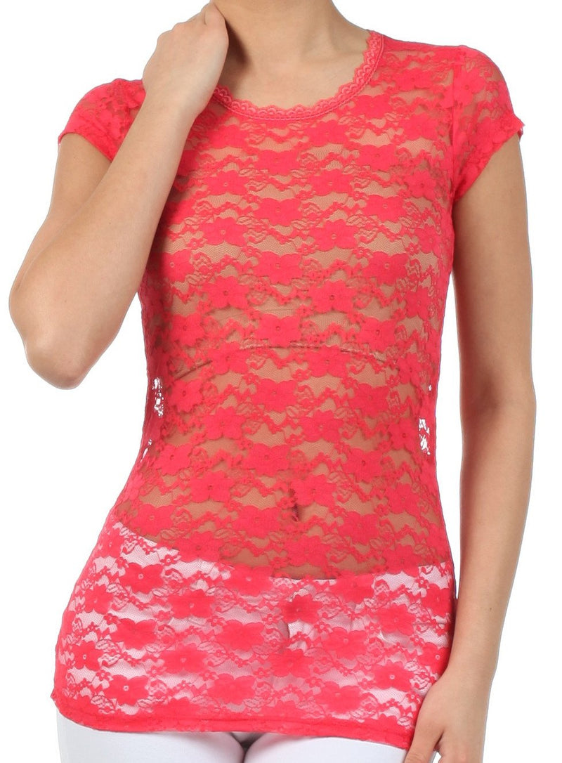 Sakkas Stretch Floral Lace Cap Sleeve Tunic Length Tee - Made in USA
