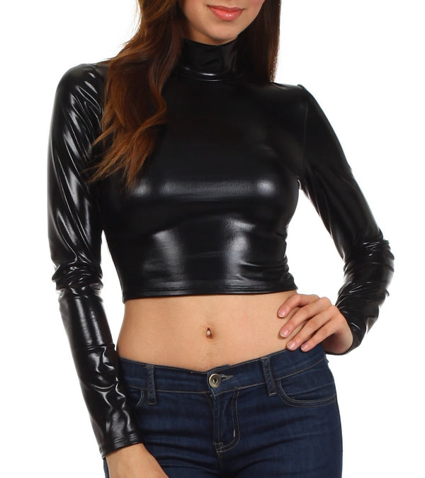 Sakkas Metallic Liquid Mock Neck Turtleneck Long Sleeve Crop Top - Made in USA#color_Black
