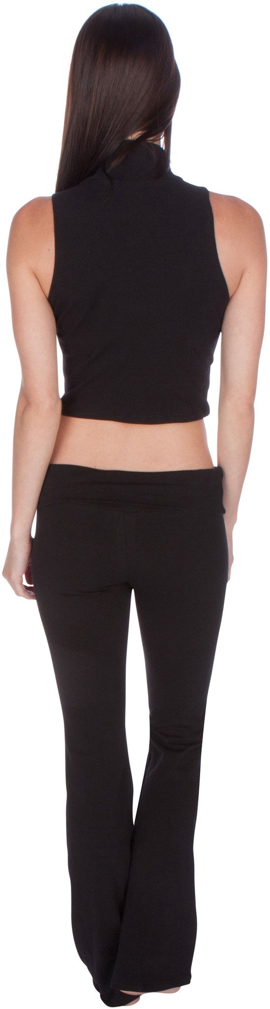 Sakkas Mock Neck Turtleneck Sleeveless Scuba Crop Top - Made in USA