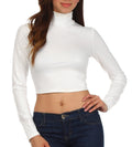 Sakkas Matte Liquid Mock Neck Turtleneck Long Sleeve Crop Top - Made in USA#color_Off White