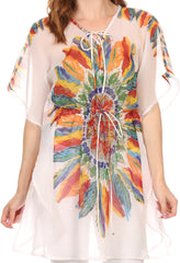 Sakkas Vilvetta Long Wide Adjustable Waist Poncho Top Blouse Feather Print CoverUp