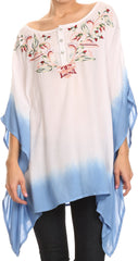 Sakkas Saleei Long Wide Square Ombre Floral Embroidered  Jewel Button Poncho Top