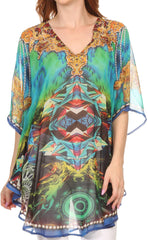 Sakkas Sola Wide Long Tall Printed V-Neck Sleeveless Rhinestones Poncho Blouse Top