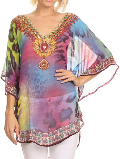 Sakkas Villa Long Wide Tall Printed Rhinestone Circle Poncho Top Blouse Cover Up