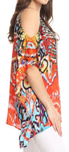 Sakkas Saanvi Printed Draped Short Sleeve Strap Cutout Shoulder V-Neck Kaftan Top