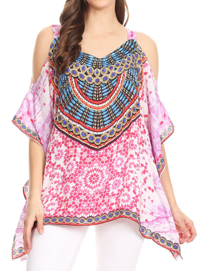 group-MM114-Multi (Sakkas Saanvi Printed Draped Short Sleeve Strap Cutout Shoulder V-Neck Kaftan Top)