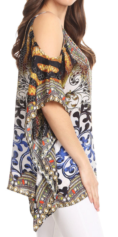 group-OW15-White (Sakkas Saanvi Printed Draped Short Sleeve Strap Cutout Shoulder V-Neck Kaftan Top)