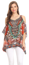group-SR8-Red (Sakkas Saanvi Printed Draped Short Sleeve Strap Cutout Shoulder V-Neck Kaftan Top)