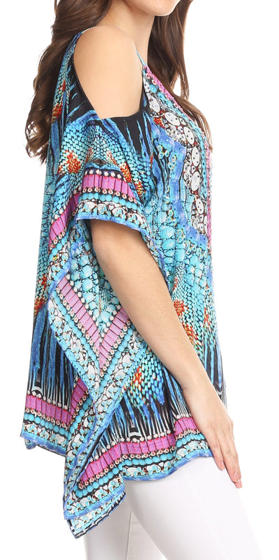 group-ST40-Turq (Sakkas Saanvi Printed Draped Short Sleeve Strap Cutout Shoulder V-Neck Kaftan Top)
