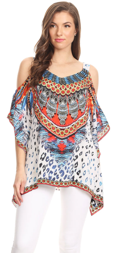 group-TRM109-Multi (Sakkas Saanvi Printed Draped Short Sleeve Strap Cutout Shoulder V-Neck Kaftan Top)