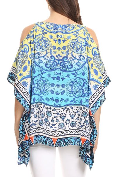 group-TT42-Turq (Sakkas Saanvi Printed Draped Short Sleeve Strap Cutout Shoulder V-Neck Kaftan Top)