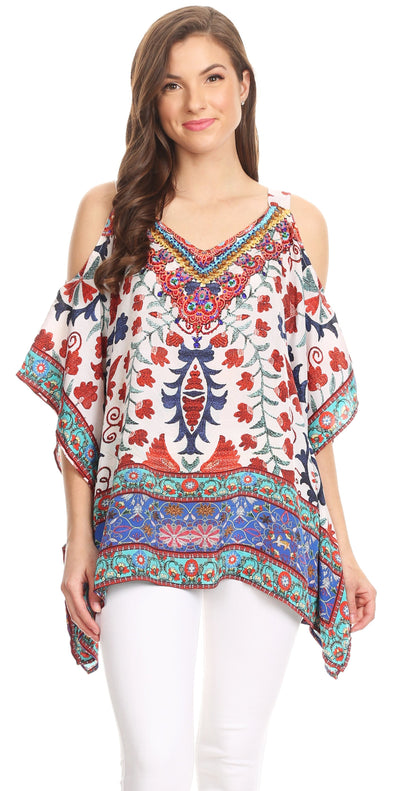 group-TW25-White (Sakkas Saanvi Printed Draped Short Sleeve Strap Cutout Shoulder V-Neck Kaftan Top)