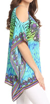 group-WT53-Turq (Sakkas Saanvi Printed Draped Short Sleeve Strap Cutout Shoulder V-Neck Kaftan Top)