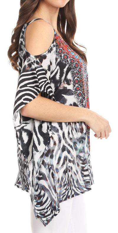 group-ZW11-White (Sakkas Saanvi Printed Draped Short Sleeve Strap Cutout Shoulder V-Neck Kaftan Top)