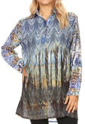 Sakkas Alberta Womens Long Blouse Tunic Shirt with 3/4 Sleeve and Embellishing#color_AB175-Blue