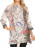Sakkas Antona Womens SIlky 3/4 Sleeve Blouse Top  with Embellishing Relax Fit#color_FLW180-White