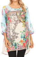 Sakkas Ilari Womens Short Sleeve Everyday Blouse Top with Embellishing Relax Fit#color_FLM193-Multi