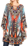 Sakkas Delu Women's Loose V Neck Blouses Top Tunic with Ruffles And Rhinestone#color_AM107-Multi
